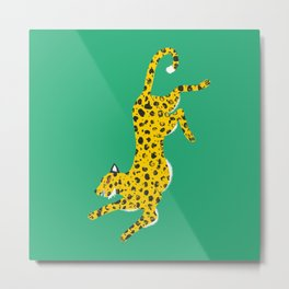 Green Leopard Metal Print