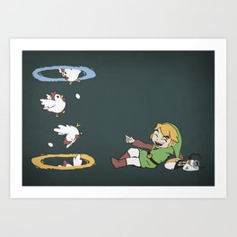 Thinking With Chickens Art Print