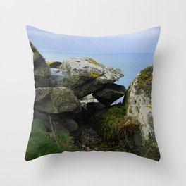 Lichen Covered Rocks in Front of the Blue Horizon Throw Pillow