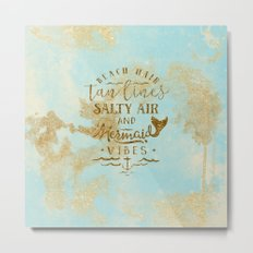 Beach-Mermaid-Mermaid Vibes - Gold glitter lettering on aqua glittering backround Metal Print