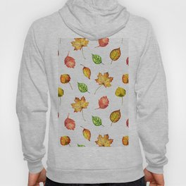 Hand painted green gold brown red Autumn leaves Hoody