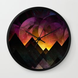 Whimsical mountain nights Wall Clock
