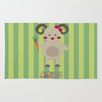 aries Area & Throw Rugs featuring Aries by Esther Ilustra