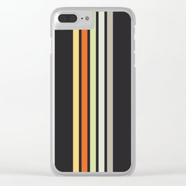 Colorful Retro Stripes Black III Clear iPhone Case