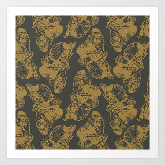 Ginkgo Fossils - Dark Art Print