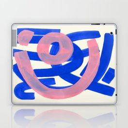 Tribal Pink Blue Fun Colorful Mid Century Modern Abstract Painting Shapes Pattern Laptop & iPad Skin