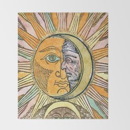 Sun and Moon Face Throw Blanket