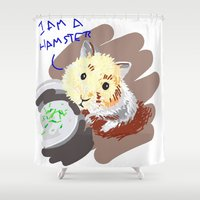 hamster Shower Curtains featuring Hamster by wingnang