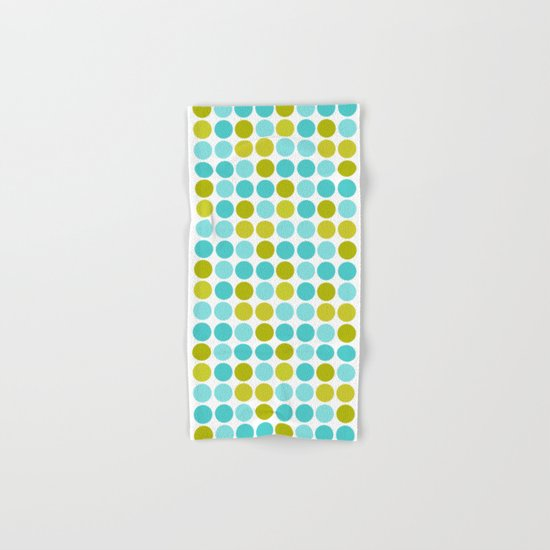 The pattern Green -  blue  polka dots. Hand & Bath Towel