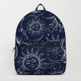 Blue Magic Celestial Sun Moon Stars Backpack