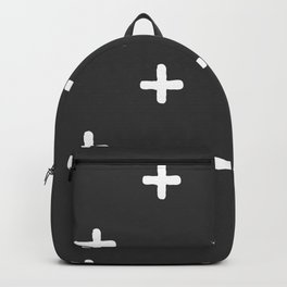 White Crosses on Charcoal Grey Backpack