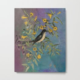 Flycatcher with Carolina Jasmine, Vintage Natural History and Botanical Metal Print