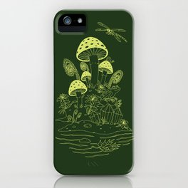 Mushroom, Frogs and Crystals with Dragofly iPhone Case