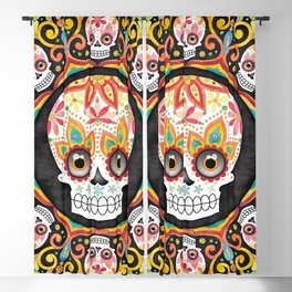 Sugar Skull Mandala - Art by Thaneeya McArdle Blackout Curtain