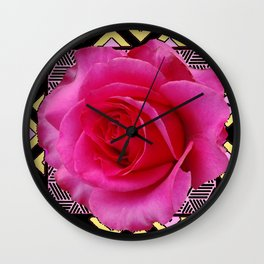 Black-Fuchsia-Yellow Lattice Design Pink Rose. Wall Clock