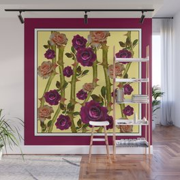 BURGUNDY-YELLOW ROSE GARDEN Wall Mural