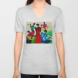 African American Masterpiece 'Bourbon Street New Orleans Jazz' by Fred Blassingham Unisex V-Neck