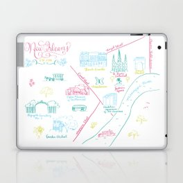 New Orleans, Louisiana Illustrated Calligraphy Map Laptop & iPad Skin