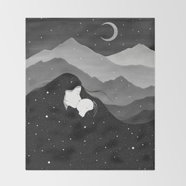 Mountain's Lullaby - Black & White Throw Blanket