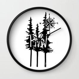 PNW Trees & Compass Wall Clock