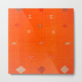 -A10- Traditional Anthropologie Moroccan orange Artwork. Metal Print