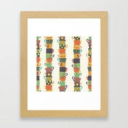 Stack of Teacups Framed Art Print