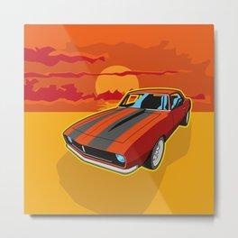 Red Camaro at Sunset Metal Print