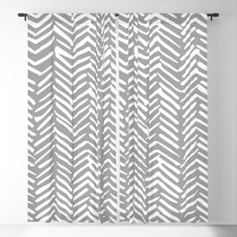 Abstract Herringbone Pattern, Rustic, Gray and White Blackout Curtain