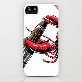 Beer Drinking Lobster Funny Craft Beer Shirt iPhone Case