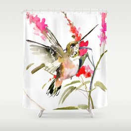 Hummingbird and Pink Flowers, sage green, olive green pink Shower Curtain