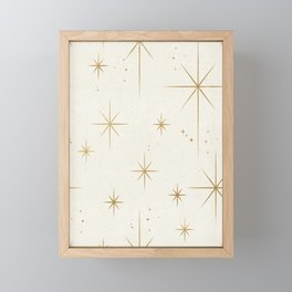 Seamless Pattern Glamorous White Gold Art Deco Stars Constellations Minimalist Geometric Pattern Framed Mini Art Print