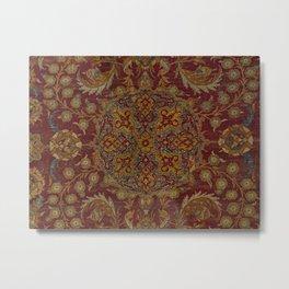 Boho Funky II // 16th Century Distressed Red Green Blue Flowery Colorful Ornate Rug Pattern Metal Print