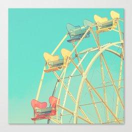 Vintage fairground photograph, teal, red, yellow, Ferris Wheel Canvas Print
