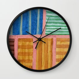 Beautiful Stripes Pattern within a Pink Grid Wall Clock