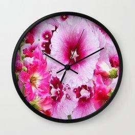 DECORATIVE FUCHSIA-PINK HOLLYHOCK  PATTERNS GARDEN ART Wall Clock