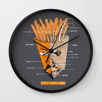 french fries Wall Clocks featuring French Fries Anatomy by Pigboom Art