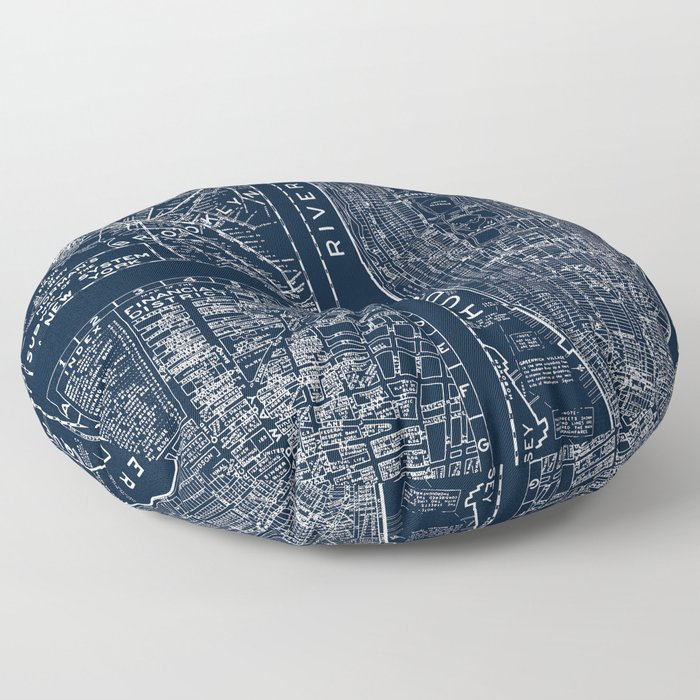 Vintage New York City Street Map Floor Pillow