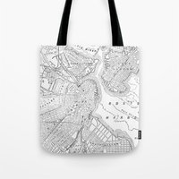 boston map Tote Bags featuring Vintage Map of Boston (1878) by BravuraMedia