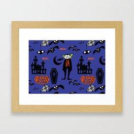 Cute Dracula and friends blue #halloween Framed Art Print