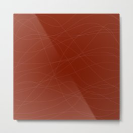 Red with Lines Metal Print