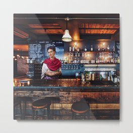Frida at bar Metal Print