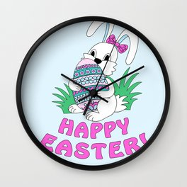 Happy Easter with cute bunny kepping ornamental egg Wall Clock