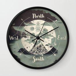 Lighthouse Compass Forest Ocean Wall Clock
