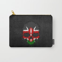Flag of Kenya on a Chaotic Splatter Skull Carry-All Pouch