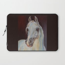 Arabian Horse portrait Gray horse head horse painting Laptop Sleeve