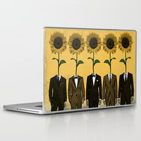 suits Laptop & iPad Skins featuring Sunflowers In Suits Print by Roxy Makes Things