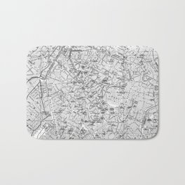 Vintage Map of Brussels (1905) BW Bath Mat
