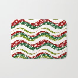 Christmas waves and snowflakes Bath Mat