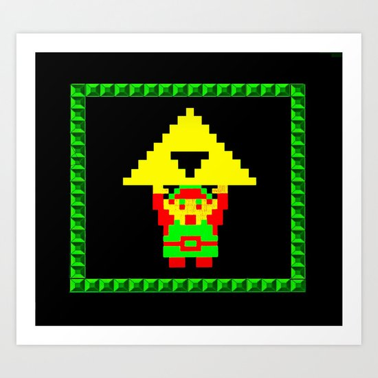 The Legend of Zelda (Link with Triforce) Art Print