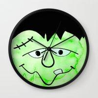 frankenstein Wall Clocks featuring Frankenstein by HollyJonesEcu